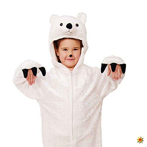 Imagen de disfraz de oso polar, el tamaño 116/128, mono animales ajuste blanco carnaval de los niños alternativa