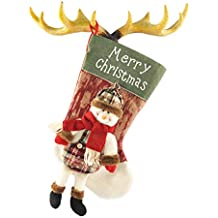 TOYESS Grande Media de Navidad Colgante Calcetín de Navidad Decoración de Navidad,Patrón de Clásico