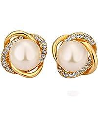 e55bf9a94580 Niyatree Mujer Moda Pendientes Bañado en 18K Oro con Cristal Elegante Joya  + Caja Regalo