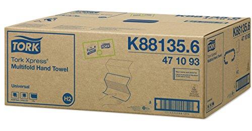 Tork 471093 Asciugamani Intercalati Xpress Piegati a Z Soft Universal, Compatibili con Sistema H2, 1 Velo, 20 Pacchetti x 250 Asciugamani, Bianco