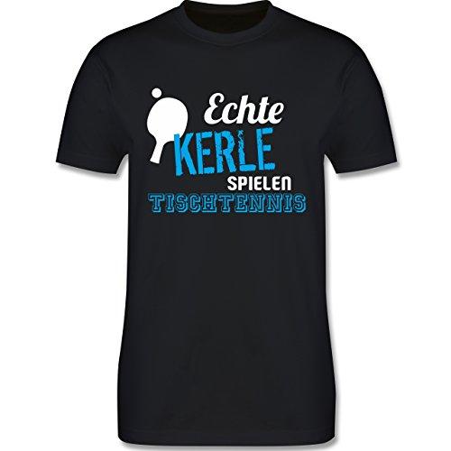 Sonstige Sportarten - Echte Kerle Spielen Tischtennis - 3XL - Schwarz - L190 - Herren T-Shirt Rundhals