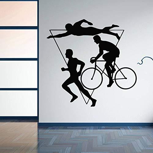 Wohnkultur Sport Triathlon Vinyl Wandaufkleber Mehrstufige Athletische Wettbewerb Wandtattoo Schwimmen Fahrrad Laufen 59x57 cm