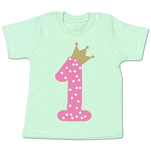 Shirtracer Geburtstag Baby - 1. Geburtstag Krone Mädchen Erster - 6-12 Monate - Mintgrün - BZ02 - Babyshirt Kurzarm