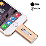 3-in-1 OTG Lightning USB Flash-Drive Pen Drive für iPhone 5/6/7/Plus/iPad iOS-/Android-Smartphone/PC, USB-Stick Silber 256 GB