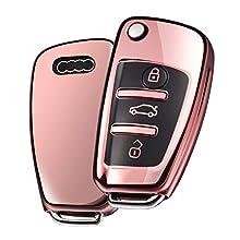 OATSBASF Fit to Audi Key Cover, Car Key Cover for Audi A1 A3 A4 A6 Q3 Q5 Q7 S3 R8 TT Remote Protector Case TPU Silicone (Rose Gold)