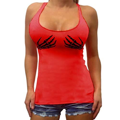 p Handknöchel Print Ärmellose Weste Camisole Gr.36-44 Sexy Shirt Bluse(M(38),rot) ()