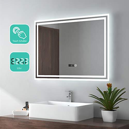EMKE Espejo de Baño Espejo de baño Espejo LED Espejo de Pared con Interruptor Táctil+Reloj Digital,IP44,23W,Blanco...