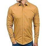 B-commerce Herren Business Casual Long Sleeves Hemden - Männer Einfarbig Tasten Design Tasten Daunen T-Shirt Top Elastic