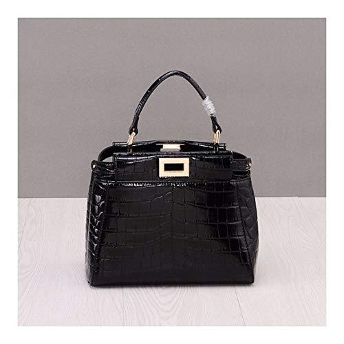 XUZISHAN Lady Leder Bag Eine Schulter Messenger Crossbody Fashion Handtasche Krokodil Mark, Schwarz -