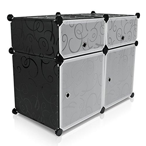 VENKON - Universal Steckschrank Stoffschrank Frei Gestaltbares DIY Regalsystem: 4-Modulfächer mit Türen, schwarz-weißes Steckregal