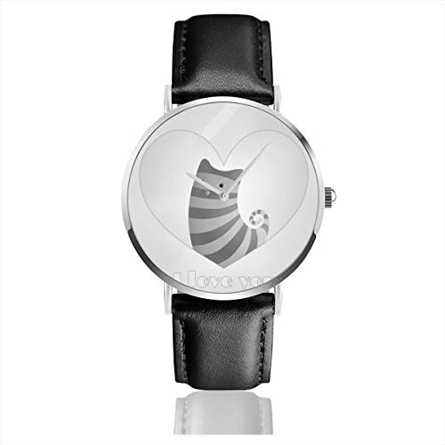 Business Analog Watches,Cute Cat In Black Heart. Classic Stainless Steel Quartz Waterproof Wrist Watch with Leather Strap