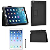 High Quality New Apple iPad 4, iPad 3 & iPad 2 Premium Folio Black PU Leather Case / Cover / Wallet and Flip Stand With Built-in Magnet For Sleep / Wake Feature + 1 Included Screen Protectors and Stylus for New Apple iPad 4th Generation (With Retina Display), iPad 3 & iPad 2 - Black.