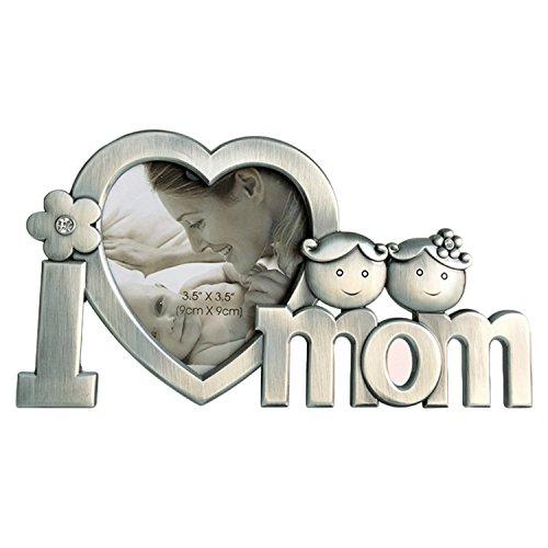 Foto Geschenke Valentines Day (Gosear I Love Mom Metall Bild Fotorahmen herzförmigen Fotorahmen für Mütter Day Geburtstag Geschenke Silber)