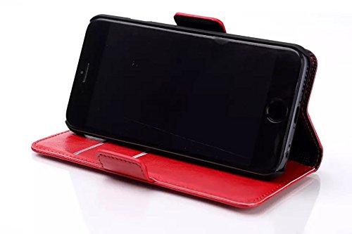 Custodia inShang cover per iphone 6 plus 5.5 iPhone 6+, Supporto rigido per iphone6 Case in pelle PU - Custodia a portafoglio con taschini per carte di credito, + inShang Logo pennino di alta classe Oil-pull red