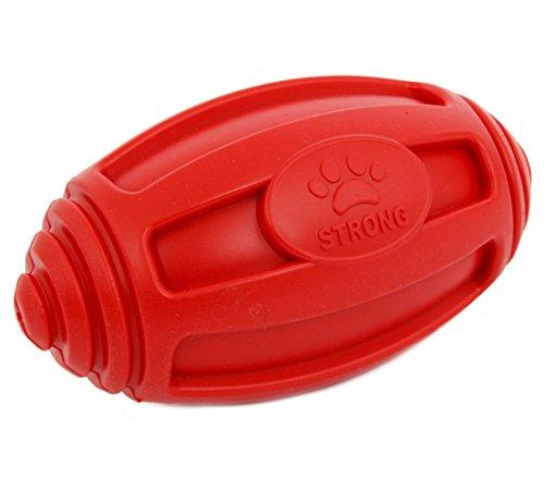 Dehner Hundespielzeug Rugby, schwimmfähig, ca. 18 x 9 cm, Thermoplast-Gummi, rot