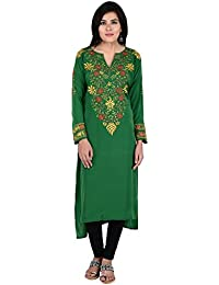 Antarnaad Women's Crepe Semi-Stitched Kurta (Green)