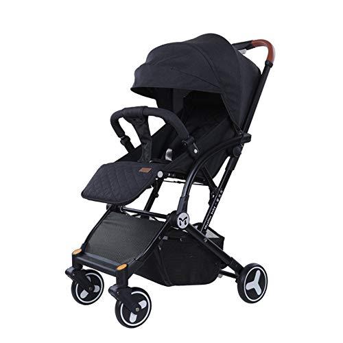 DYFAR Vierrad-Kinderwagen mit Einhandklappung, klein zusammenklappbar, Buggy mit Liegeposition, höhenverstellbarer Schiebegriff, von Geburt an bis 25 kg, Black