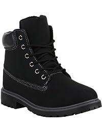 Stiefelparadies Unisex Damen Herren Stiefeletten Worker Boots Übergrößen Warm Gefüttert Flandell