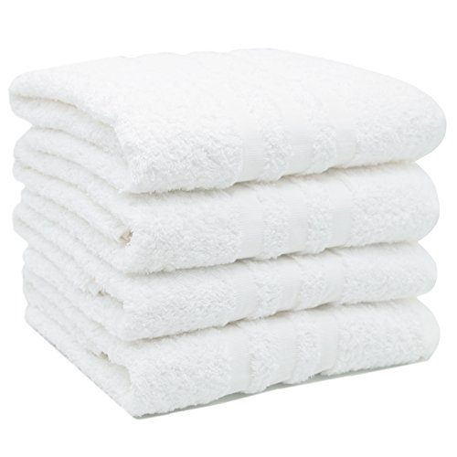 ZOLLNER 4er-Set Walk-Frottier Handtücher, weiß mit eleganter Bordüre 50x100, cm aus 100% Baumwolle, Gewicht ca. 550 g/qm, direkt vom...
