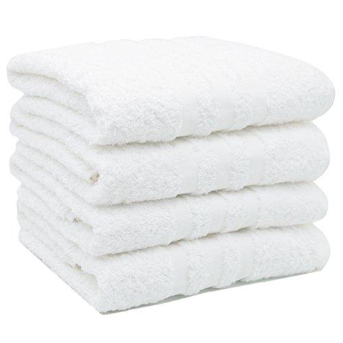ZOLLNER 4er Set Handtücher, 50x100 cm, 100% Baumwolle, 550g/qm, weiß