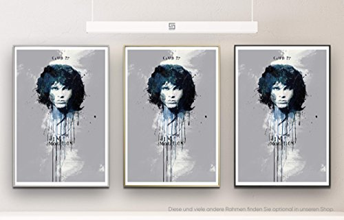 Jim Morrison 90x60cm auf Masterclass Metallic Pearl High Gloss Photo Paper inklusive Aluminium Wechselrahmen champagner gold mit Glas und Rückwand fertig gerahmt