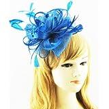 Damen blau blaugrün Fascinator auf Stirnband mit Federn Mesh Blumen