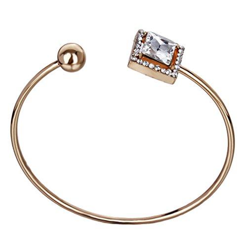 YAZILIND Attractive plaqué or mariage Agate pierre immitation perle Cuff Bracelets de femmes Bridal Boîte