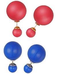 Kolossalz Set Of 2 Double Side Pearl Stud Earrings For Women