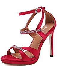 NobS Señoras Moda Mujeres Tacones Altos Peces Boca Sandalias Huecos Plataforma A Prueba De Agua Zapatos De Tacón Alto Sandalias Suede Zapatos Casual , red , 35
