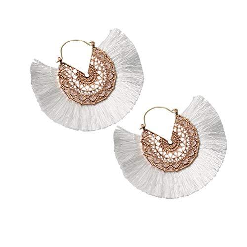 akiter Ohrhänger 1 Paar Quaste Geometrische Rundschnitt Ohrstecker Doppel Creolen Lange Runde Anhänger Ohrringe für Feiertagskleid Weibliche Freunde (Baby Ohrhaken)