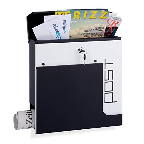 Relaxdays Design Briefkasten, abschließbar, mit Zeitungsrolle, DIN A4, großer Postkasten, HBT: 37 x 37 x 11 cm, schwarz