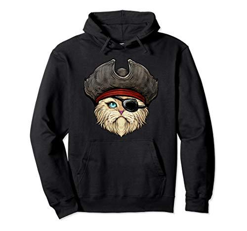 Katze Kostüm Piraten - Pawrate Katze Pirat Halloween Kostüm Augenklappe Hütte Pullover Hoodie