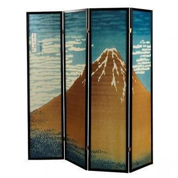 Fine Asianliving séparateur de pièce Paravent Paravent japonais Shoji écran papier de riz Kumo 4panneaux Yama Montagne meubles Home Decor écrans Oriental asiatique noir style japonais (papier de riz)
