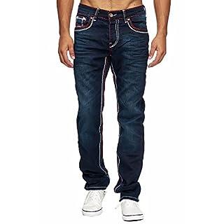 MEGASTYL Herren Männer Jeans Basic Streetwear Dicke Nähte Regular Fit, Größe:W36 / L34, Farbe:Dark Blue