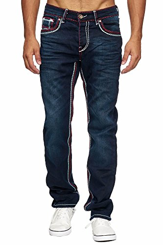 MEGASTYL Herren Männer Jeans Basic Streetwear Dicke Nähte Regular Fit, Farbe:Dark Blue, Größe:W40 / L32 (Basic Dark-denim-jeans)
