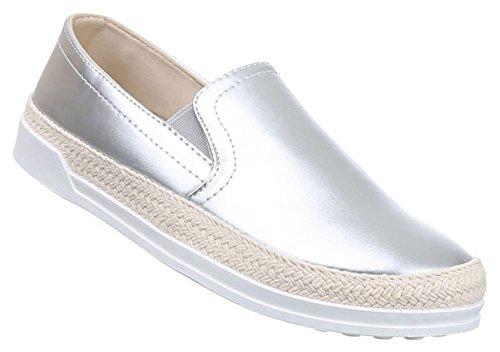 Damen Halbschuhe Lace up Schuhe Slipper Schwarz Beige Rosa Silber Weiss 36 37 38 39 40 41 Silber