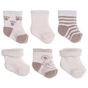 Jacobs Calcetines de recién nacido / Patucos bebé de algodón rizado con motivos ositos - Lote 6 pares (0-3 meses… 6