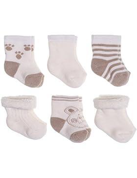 Baby Socken Erstlingssocken 6er Pack - Bärchen | warme Frottee Söckchen aus Baumwolle für Neugeborene (0-3 Monate...