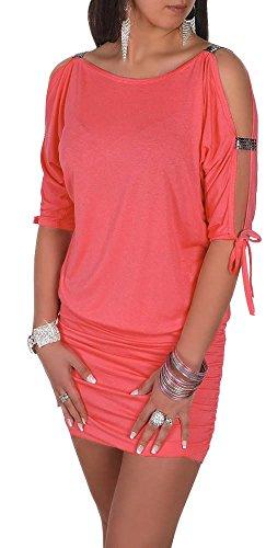 Glamour Empire Damen Tunik Top mit Armschlitz Mini-Kleid Schwarz Partykleid 157 (Koralle, EU 50/52,...