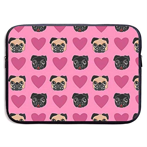 e79c32a348ed Dog Pug Love 13-15 Inch Laptop Sleeve Bag Portable Dual Zipper Case Cover  Pouch Holder Pocket Tablet Bag,Water Resistant,Black,15inch
