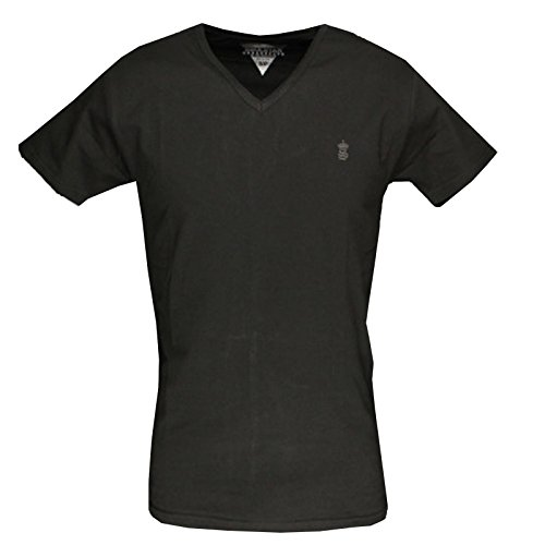 Aderente, Da Uomo T-Shirt Soulstar MT Lycra V Scollo V Maglietta T-Shirt Cotone Nero