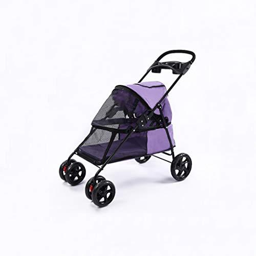 Jlxl Cochecito para Mascotas Ligero Plegable paseante Protector Solar Lluvia Perro para Gato Osito de Peluche pequeña Delicado Cuatro Rueda al Aire Libre Viaje Suministros (Color : Purple)