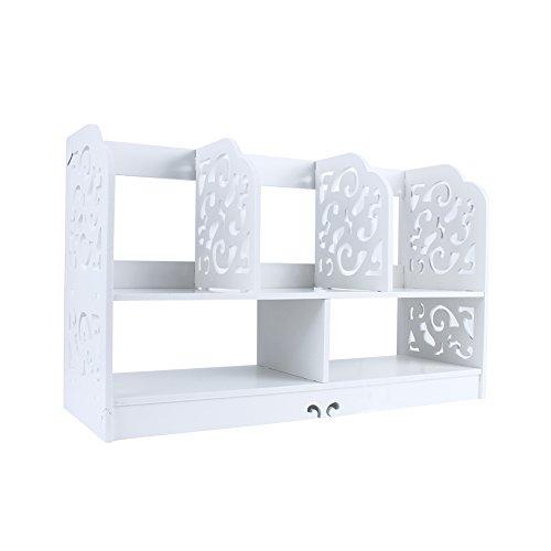Cassettiera in legno bianco traforato per scrivania, per tenere in ordine la cancelleria Model B-Large(35x21.5x60cm) White