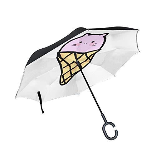 Nette Eiscreme Katzen Karikatur Doppelschicht die Anti Uv Schutz wasserdicht winddichtes gerades Auto Golf umgekehrtes umgekehrtes Regenschirm Stand mit C förmigem Griff für den Auto Regen im Freien