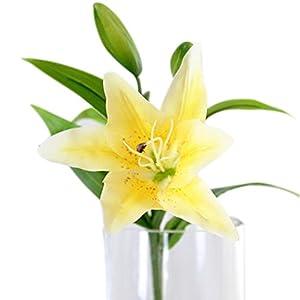 5pcs de Flores Artificiales Ramo de los Lirios (Amarillo)