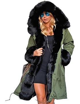 Tomasa Tomasa Abrigo de Invierno con Capucha Faux Fur Chaqueta Parka Militar Acolchado Largos para Mujer