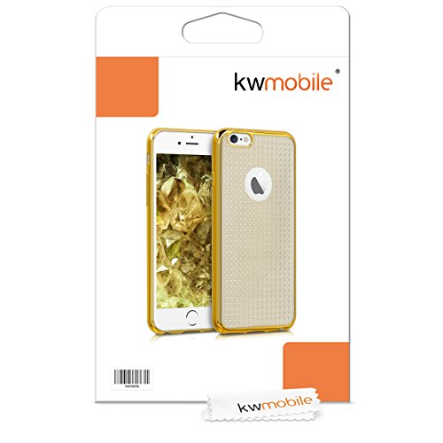 kwmobile ÉTUI EN TPU silicone pour Apple iPhone 6 / 6S Design aluminium brossé anthracite transparent. Étui design très stylé en TPU souple de qualité supérieure Cadre de cristal diamant doré transparent