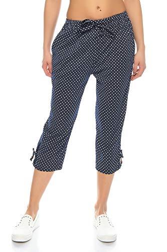 Kendindza Damen Sommer Capri | Kurze 3/4 Schlupfhose zum binden | Uni-Farben (Dunkel-Blau, XL)