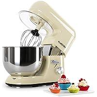 Klarstein Bella Morena • Robot de cocina • Batidora • Amasadora • 1200 W • 5,2 litros • 6 PS • Batido planetario • 6 niveles de velocidad • Recipiente de acero inoxidable • Color crema