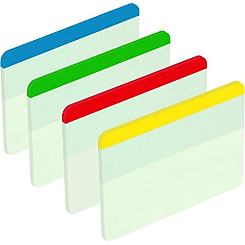 Post-It 686F-1 - Pack de 4 indexes rígidos planos, 51 x 38 mm, multicolor